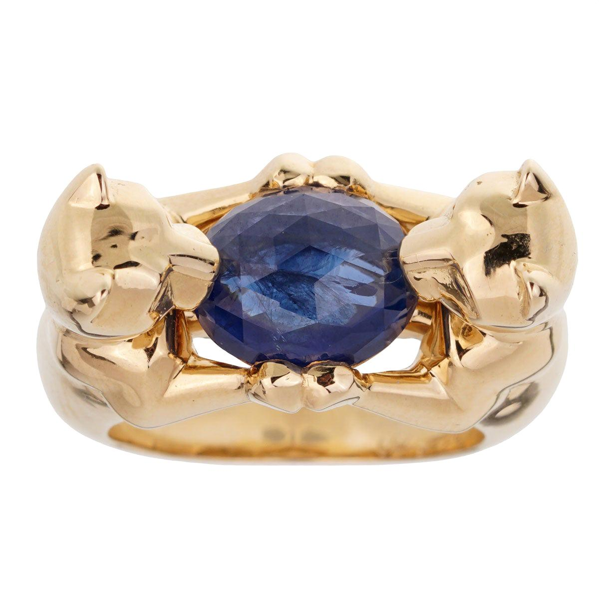 Cartier Double Panthere Sapphire Yellow Gold Ring