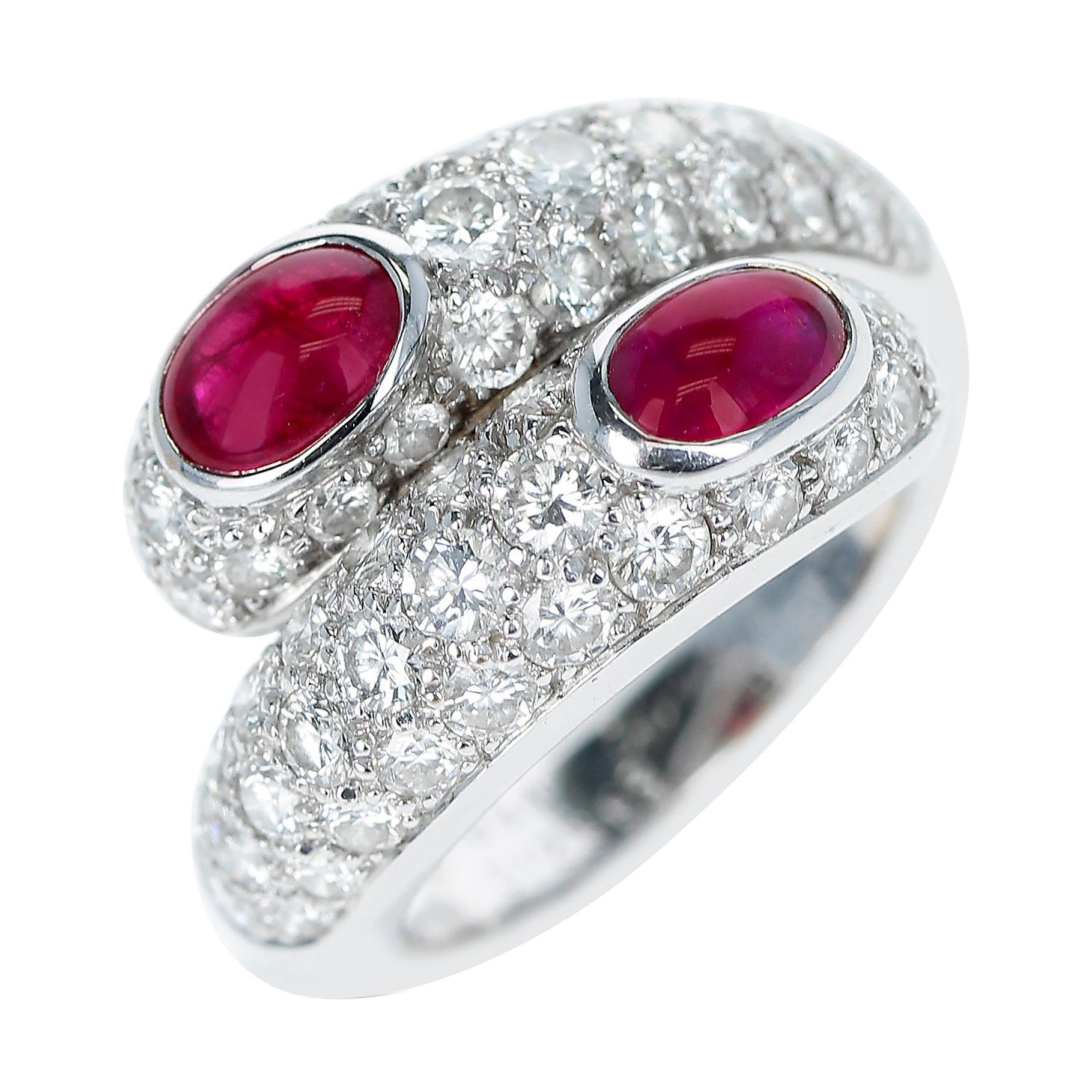 Cartier Double Ruby Cabochon and Diamond Ring with Paperwork, 18k White