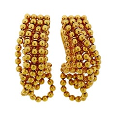 Cartier Draperie 18 Karat Yellow Gold Drop Earrings
