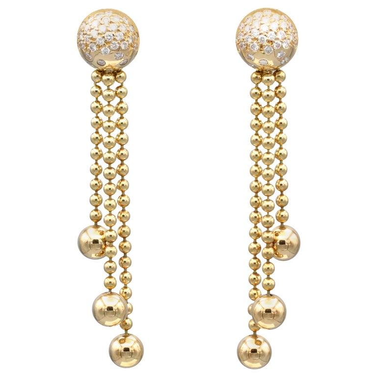 Cartier Draperie Diamond Gold Chandelier Earrings For Sale