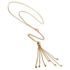 Cartier Draperie Diamond Gold Long Tassel Lariat Chain Necklace
