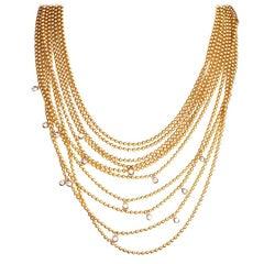 Cartier Draperie Diamond Two-Tone 18 Karat Gold Multi Strand Necklace