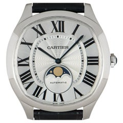 Cartier Drive De Cartier Moon Phases Stainless Steel Silvered Flinque Dial