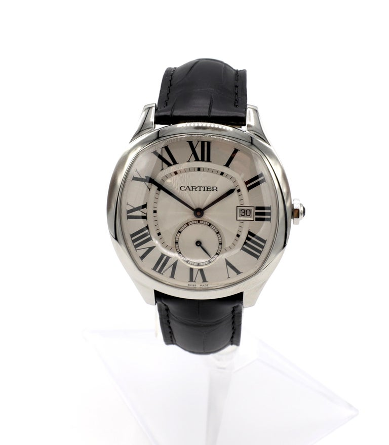 Cartier Drive De Cartier WSNM0004 Stainless Steel Leather Strap Men's Watch For Sale 6