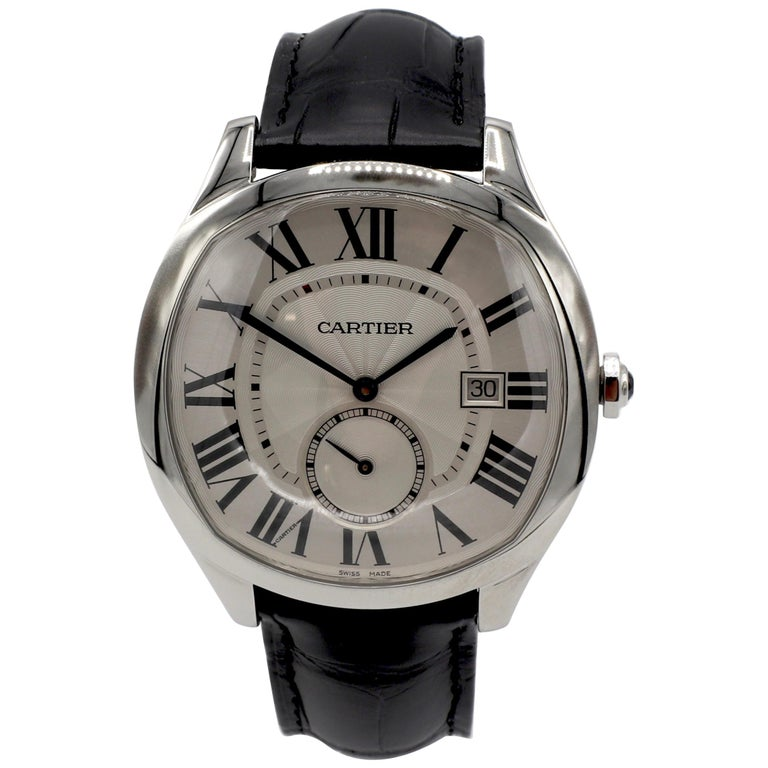 Cartier Drive De Cartier WSNM0004 Stainless Steel Leather Strap Men's Watch For Sale
