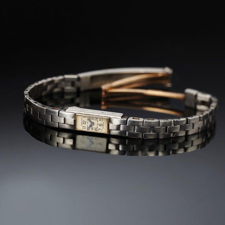 Women's Cartier Duo-Plan Baguette Back Winder Platinum Wristwatch For Sale