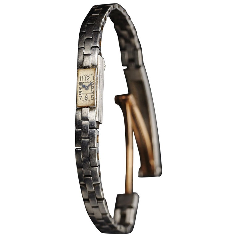 Cartier Duo-Plan Baguette Back Winder Platinum Wristwatch For Sale