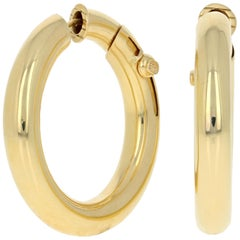Cartier Earrings, 18 Karat Yellow Gold Round Pierced Hoops