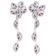"""Cartier Earrings """"Caresse d'Orchidées"""" Collection, Diamonds, Tourmaline Amethyst"""
