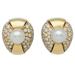"Cartier Earrings, ""Jasmin"" Collection, Set with Pearls and Diamonds"