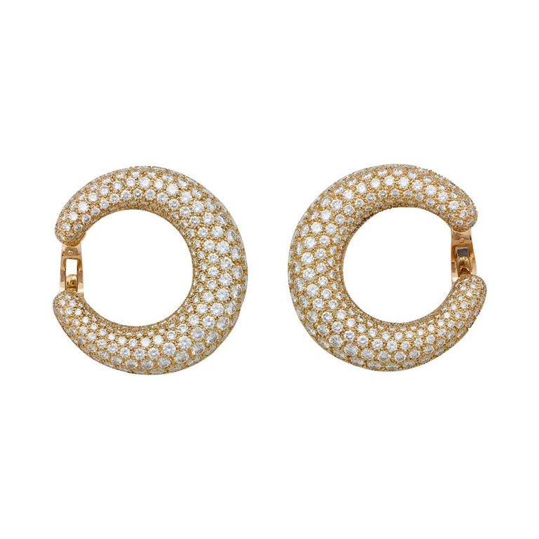 Contemporary Cartier Earrings, Yellow Gold Set with Diamonds For Sale