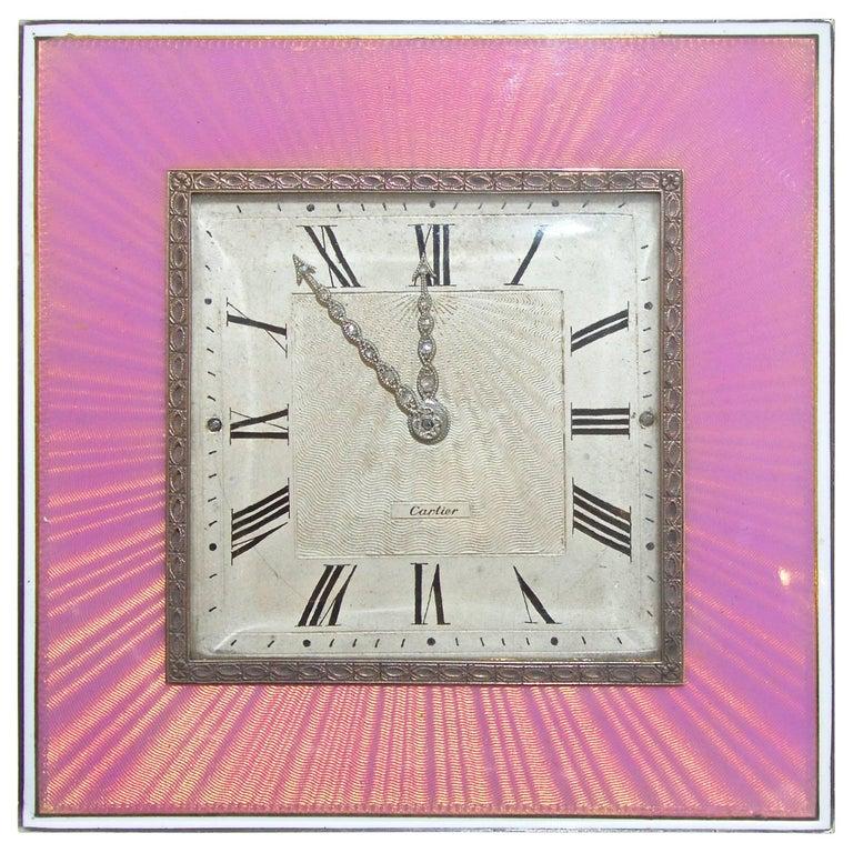 Cartier Edwardian Desk Clock, French, circa 1918 For Sale