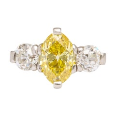 Cartier Edwardian Yellow and White Diamonds Platinum Ring