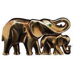 Cartier Elephant and Calf Emerald Set Brooch 18 Karat Yellow Gold