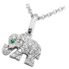 Cartier Elephant Diamond Emerald White Gold Pendant Chain Necklace