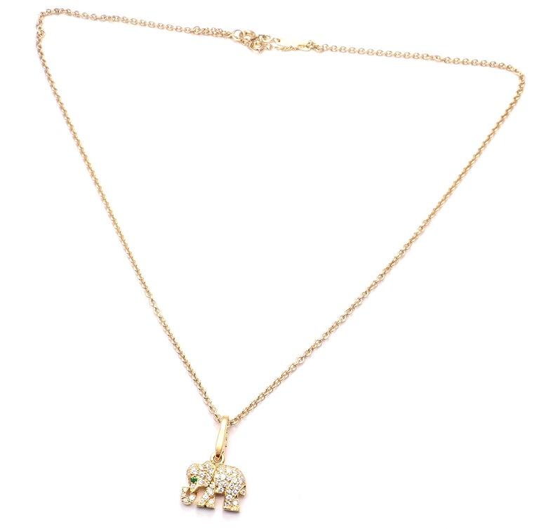 Women's or Men's Cartier Elephant Diamond Emerald Yellow Gold Pendant Chain Necklace For Sale