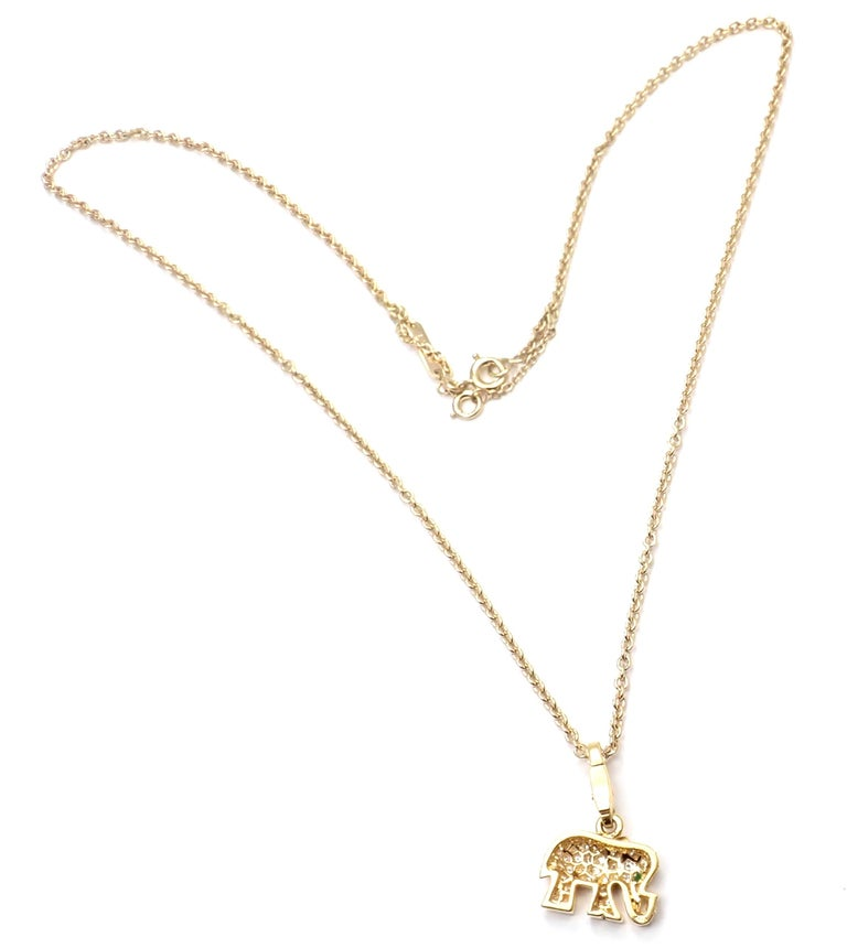 Cartier Elephant Diamond Emerald Yellow Gold Pendant Chain Necklace For Sale 1