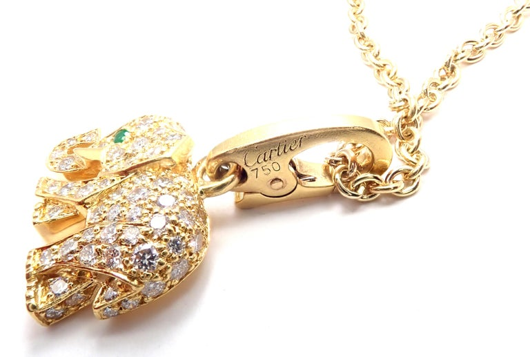 Cartier Elephant Diamond Emerald Yellow Gold Pendant Chain Necklace For Sale 2