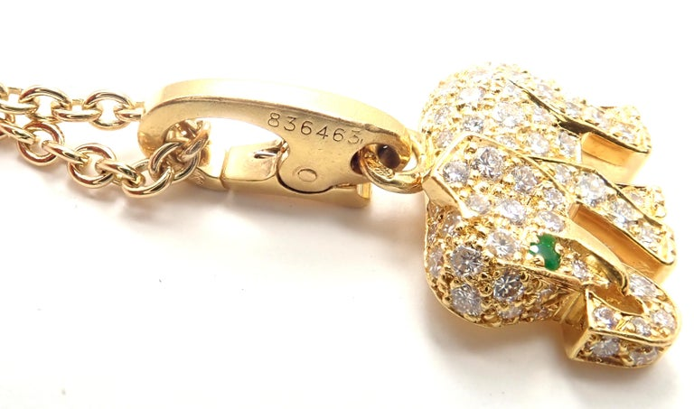 Cartier Elephant Diamond Emerald Yellow Gold Pendant Chain Necklace For Sale 3
