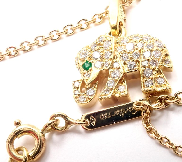 Cartier Elephant Diamond Emerald Yellow Gold Pendant Chain Necklace For Sale 4