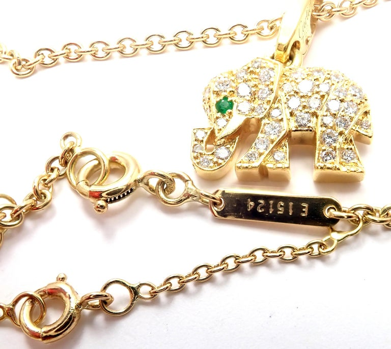 Cartier Elephant Diamond Emerald Yellow Gold Pendant Chain Necklace For Sale 5