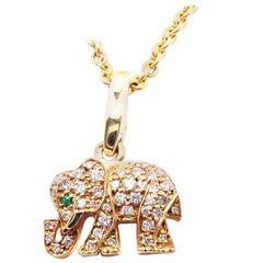Cartier Elephant Diamond Emerald Yellow Gold Pendant Chain Necklace