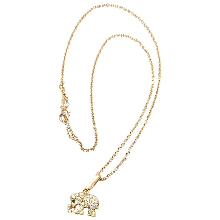 Cartier Elephant Diamond Emerald Yellow Gold Pendant Chain Necklace For Sale
