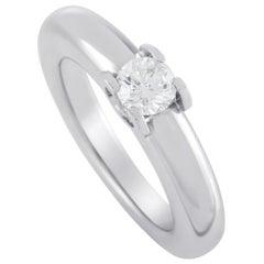 Cartier Ellipse 18 Karat White Gold 0.30 Carat Diamond Ring