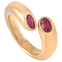 Cartier Ellipse Deux Tetes Croisees 18 Karat Yellow Gold Ruby Bypass Ring