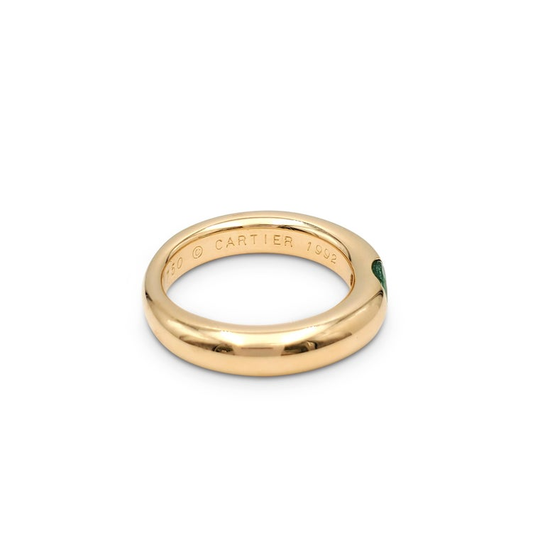 Oval Cut Cartier 'Ellipse' Gold and Emerald Ring For Sale