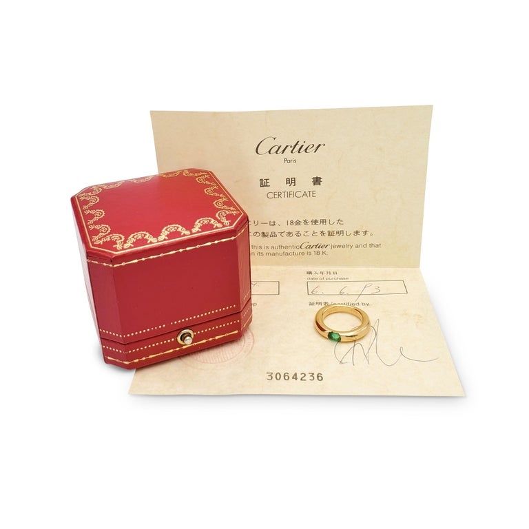 Cartier 'Ellipse' Gold and Emerald Ring In Excellent Condition For Sale In New York, NY