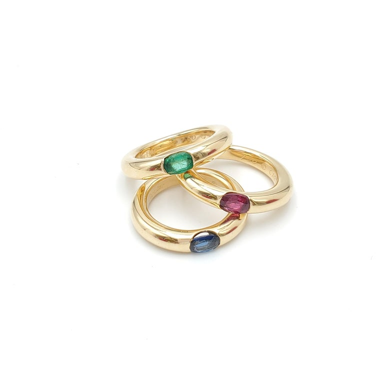 Cartier 'Ellipse' Gold and Emerald Ring For Sale 2