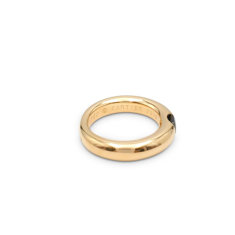 Oval Cut Cartier 'Ellipse' Gold and Sapphire Ring For Sale
