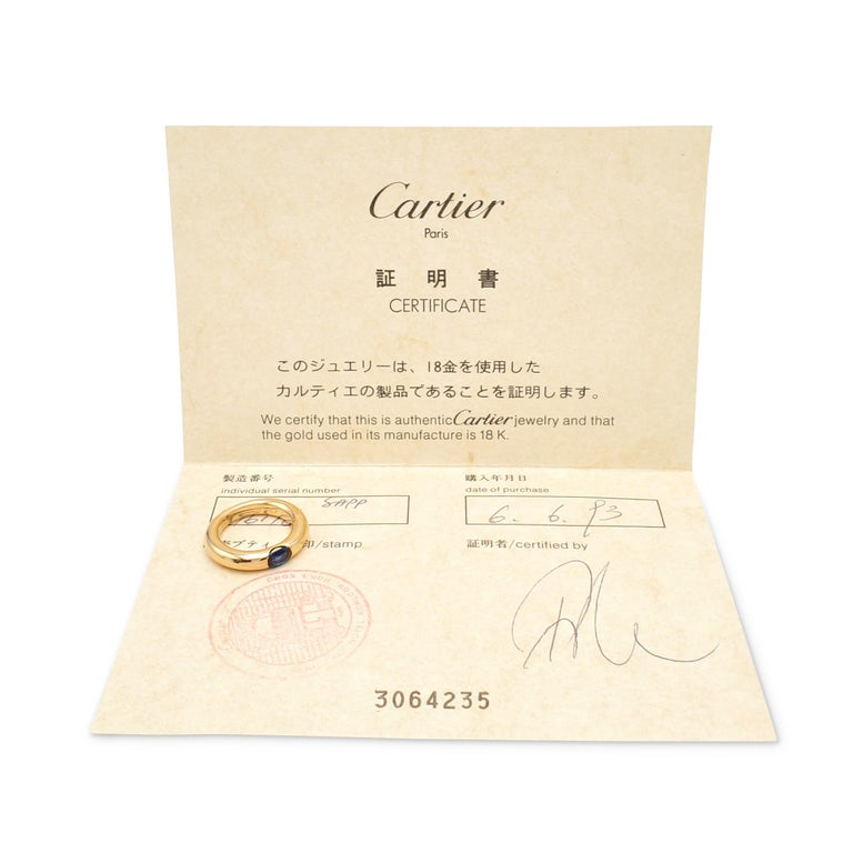 Cartier 'Ellipse' Gold and Sapphire Ring In Excellent Condition For Sale In New York, NY