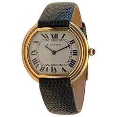 Cartier Ellipse Gondole Watch Men's Size Big Size Yellow Gold 18 Karat