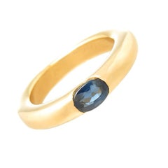 Cartier Ellipse Yellow Gold and Sapphire Stacking Band Ring