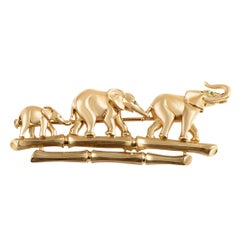 Cartier Emerald 18 Karat Yellow Gold Elephant Family Brooch