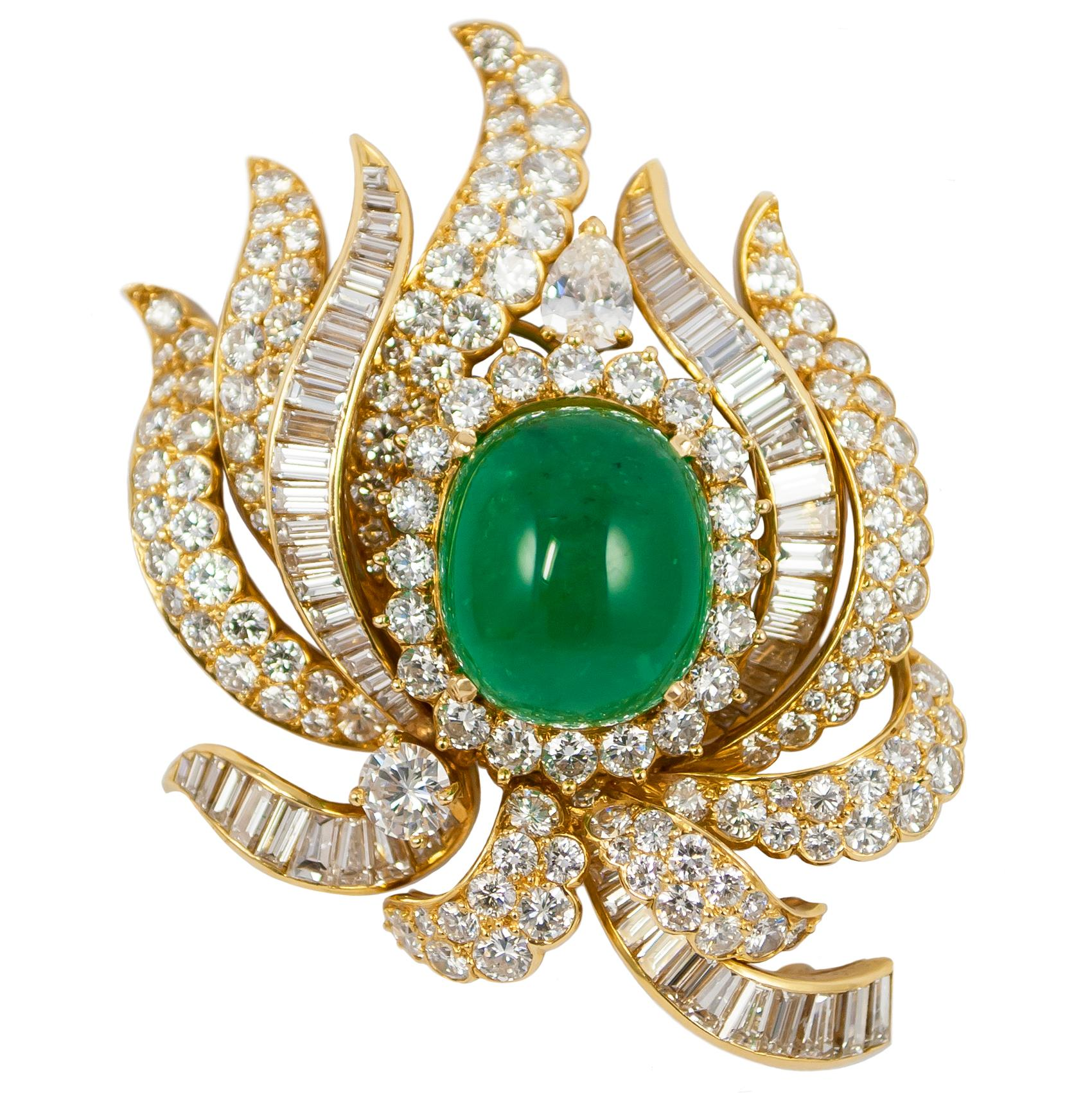 Cartier Emerald and Diamond Brooch