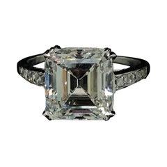 Cartier Emerald Cut Diamond Platinum Engagement Ring, 4.39ct Art Deco