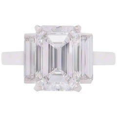 Cartier Emerald Cut Diamond Platinum Ring 3.36 Carat F/VS1