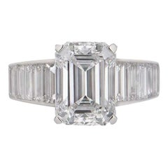 Cartier Emerald Cut Diamond Ring 4.12ct E/VVS2 with Baguettes 7.08 tcw GIA Cert