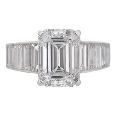 Cartier Emerald Cut Diamond Ring 4.12 Carat/E Color Center Stone GIA Certified