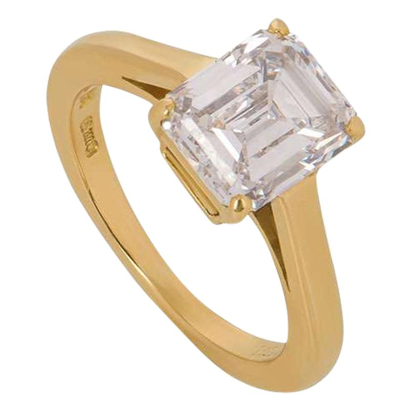 Cartier Emerald Cut Diamond Solitaire Engagement Ring 1.84 Carat E/VS1