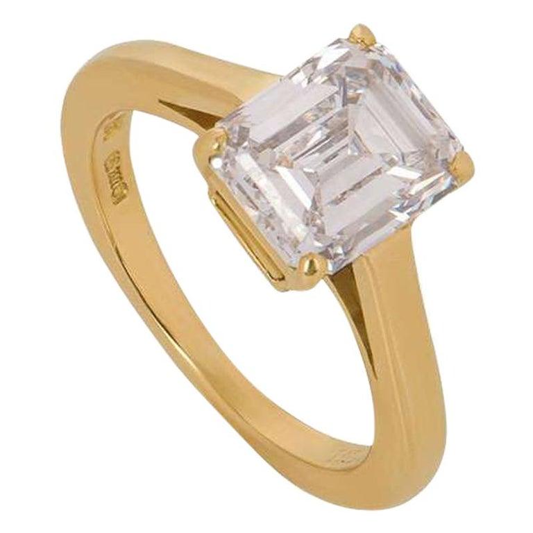 Cartier Emerald Cut Diamond Solitaire Engagement Ring 1.84 Carat E/VS1 For Sale