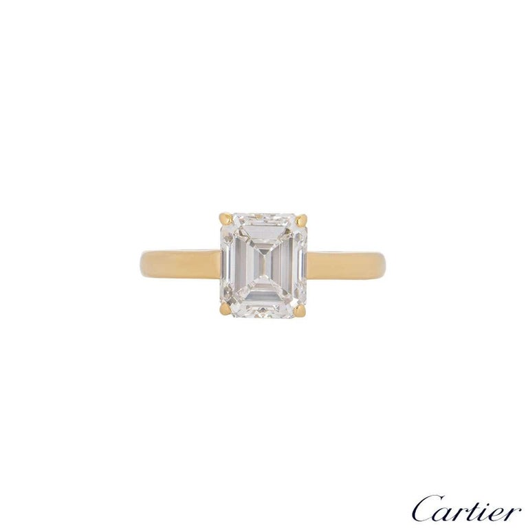 Cartier Emerald Cut Diamond Solitaire Engagement Ring 1.84 Carat E/VS1 In Excellent Condition For Sale In London, GB