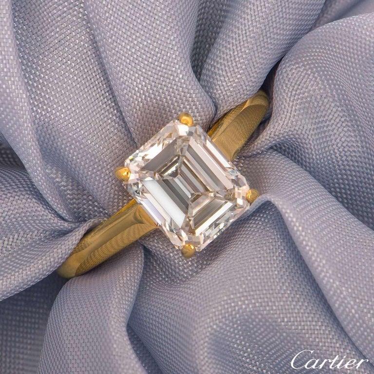 Women's Cartier Emerald Cut Diamond Solitaire Engagement Ring 1.84 Carat E/VS1 For Sale