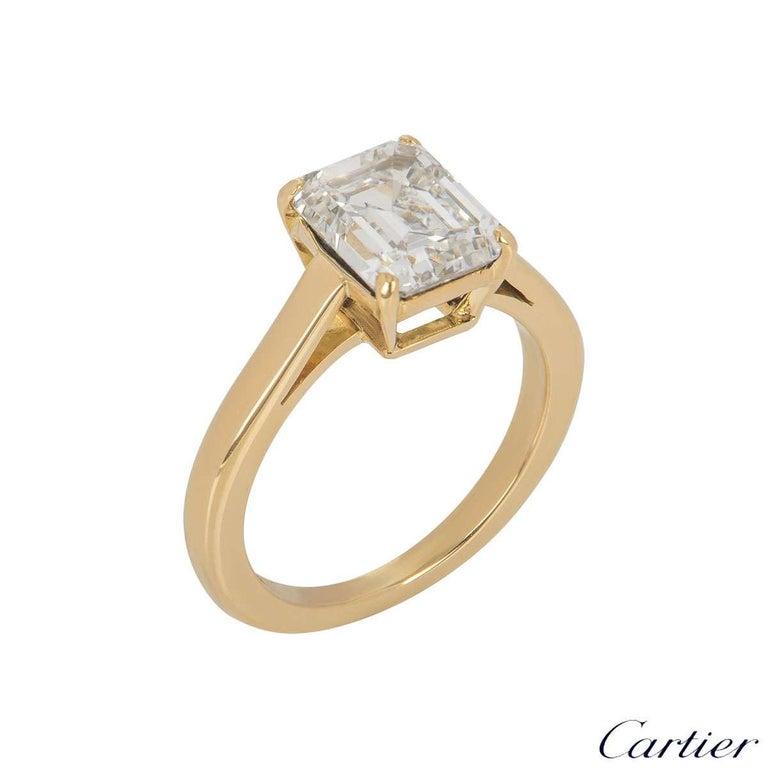 Cartier Emerald Cut Diamond Solitaire Engagement Ring 1.84 Carat E/VS1 For Sale 1