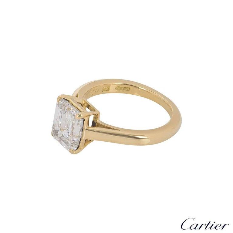 Cartier Emerald Cut Diamond Solitaire Engagement Ring 1.84 Carat E/VS1 For Sale 2