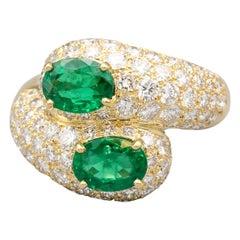 Cartier Emerald, Diamond and 18 Karat Gold Moi et Toi Contraire Ring
