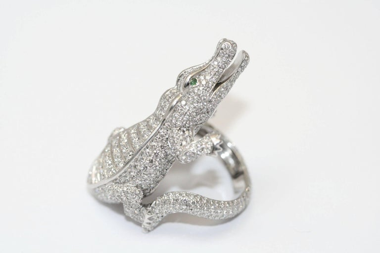 Cartier Emerald Diamond Platinum Alligator Ring In Excellent Condition For Sale In Monte Carlo, MC
